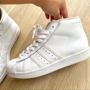 Adidas Superstar White High Top Sneakers Pro Model